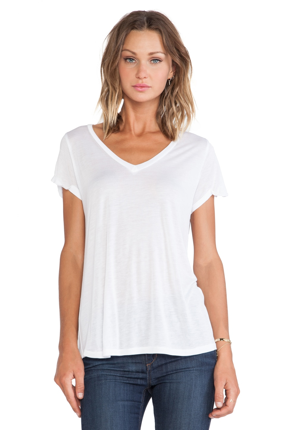 Michael Lauren Conroy V-Neck Roll Up Sleeve Tee in White
