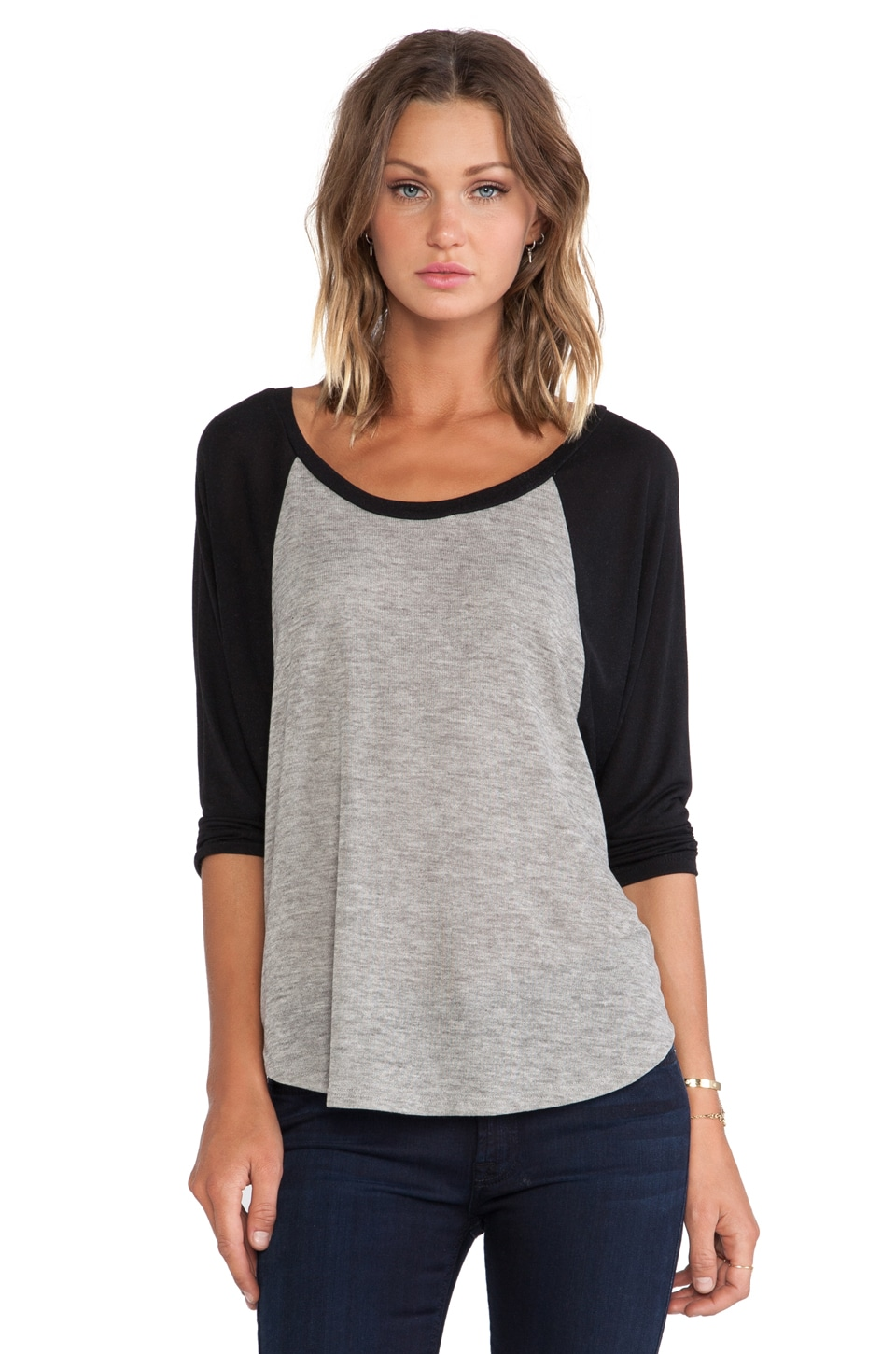 Michael Lauren Michael 3/4 Sleeve Draped Raglan in Olive/Black
