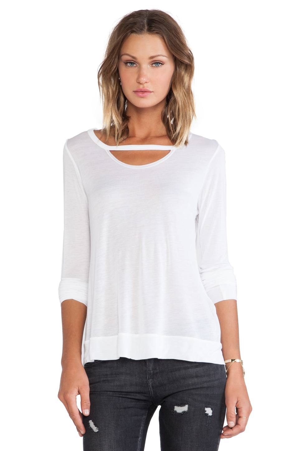 Michael Lauren Roger Holes Long Sleeve Tee in White