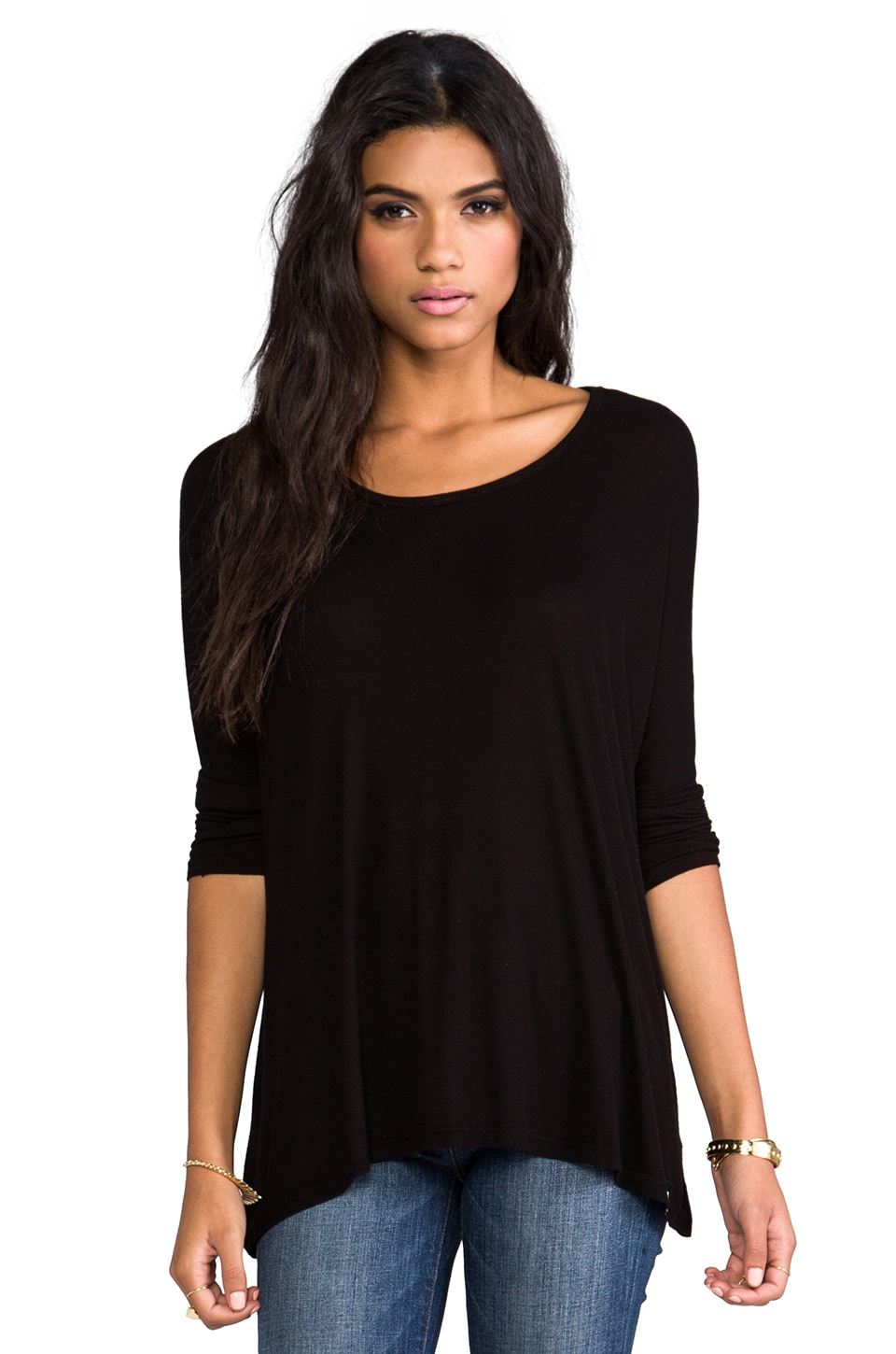 Michael Lauren Hunter Draped Tee en Noir