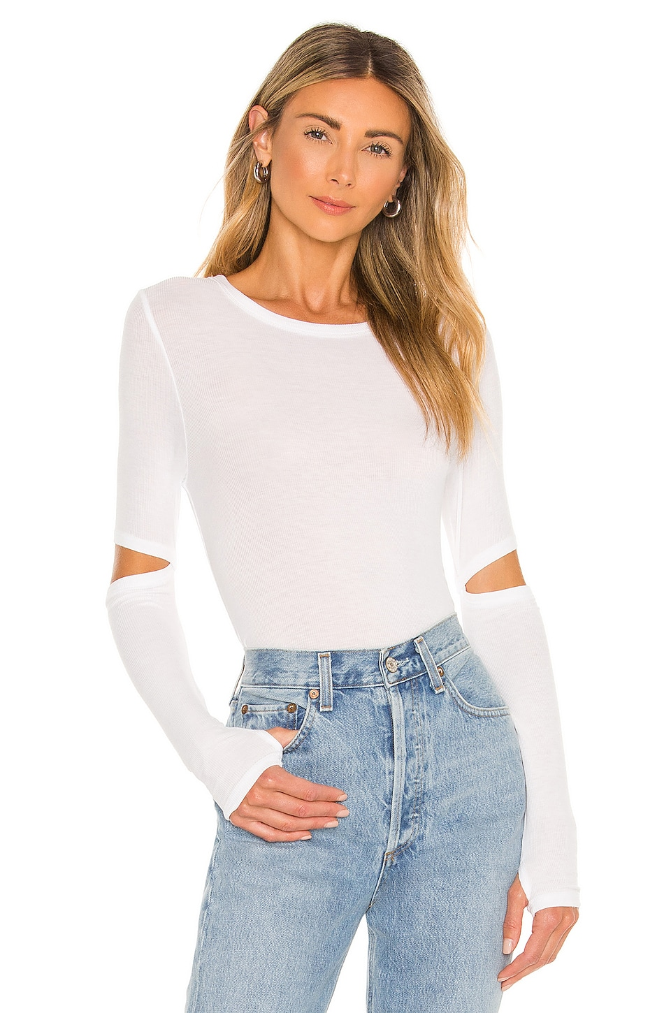 Michael Lauren Solomon Elbow Cut Out Tee in White