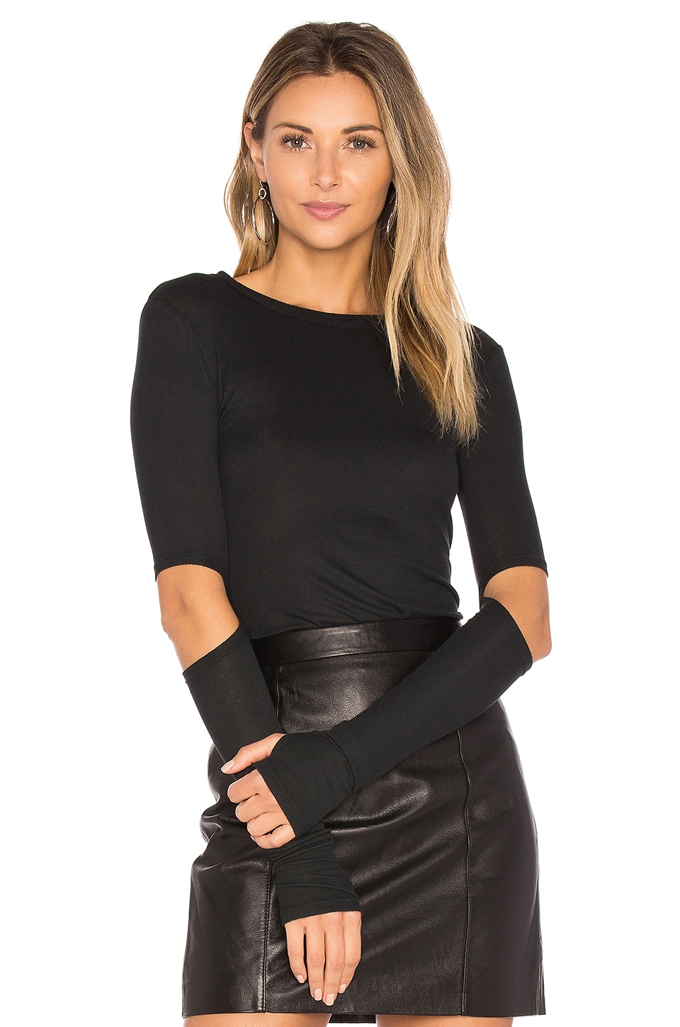 Michael Lauren Solomon Elbow Cut Out Tee in Caviar