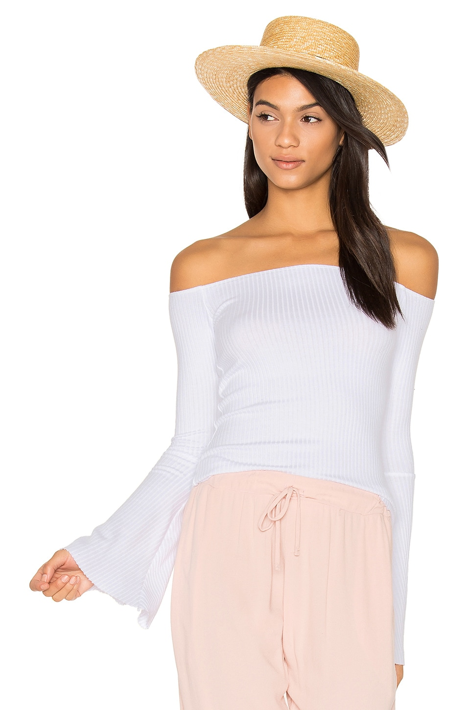 Michael Lauren Hyatt Off Shoulder Bell Sleeve Top in White