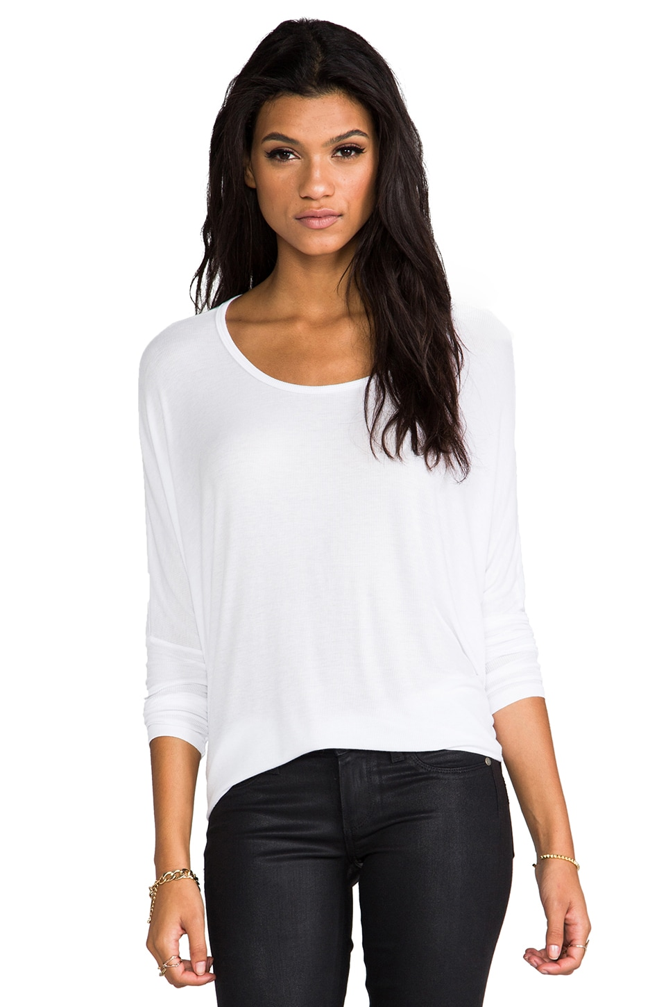 Michael Lauren Hunter Long Sleeve Draped Tee in White