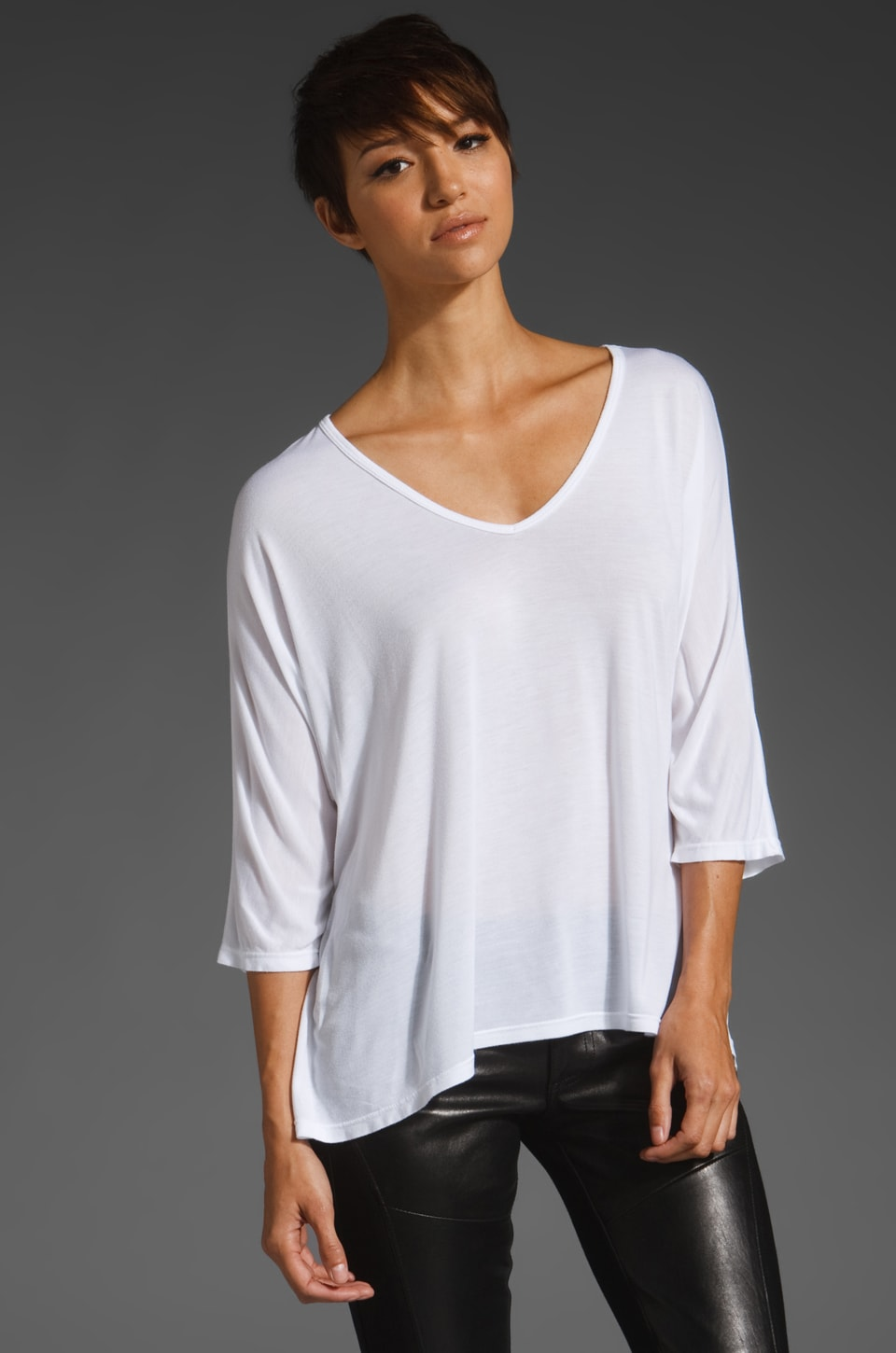 Michael Lauren Jona Crop V-Neck Tee in White