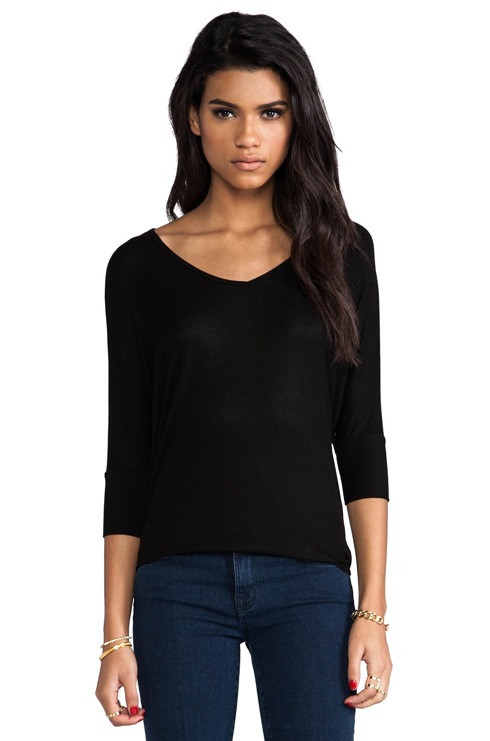 Michael Lauren Dylan Ribbed Oversized V Tee in Black