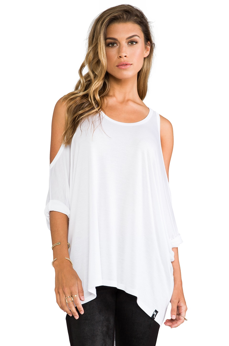 Michael Lauren Morris Oversized Open Shoulder Top in White