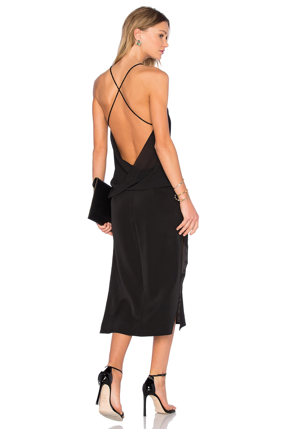 Strapped Backless Midi Dress by MLM Label