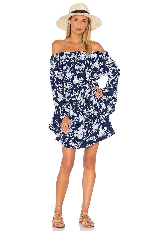 MLM Label Lavanzo Tie Mini Dress in Floral Blue