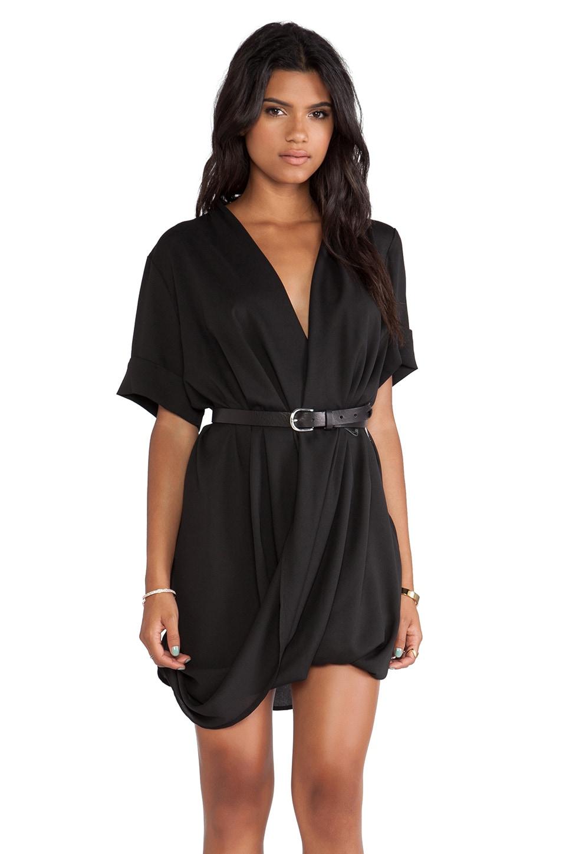 MLM Label Ziggy Roll Sleeve Dress in Black