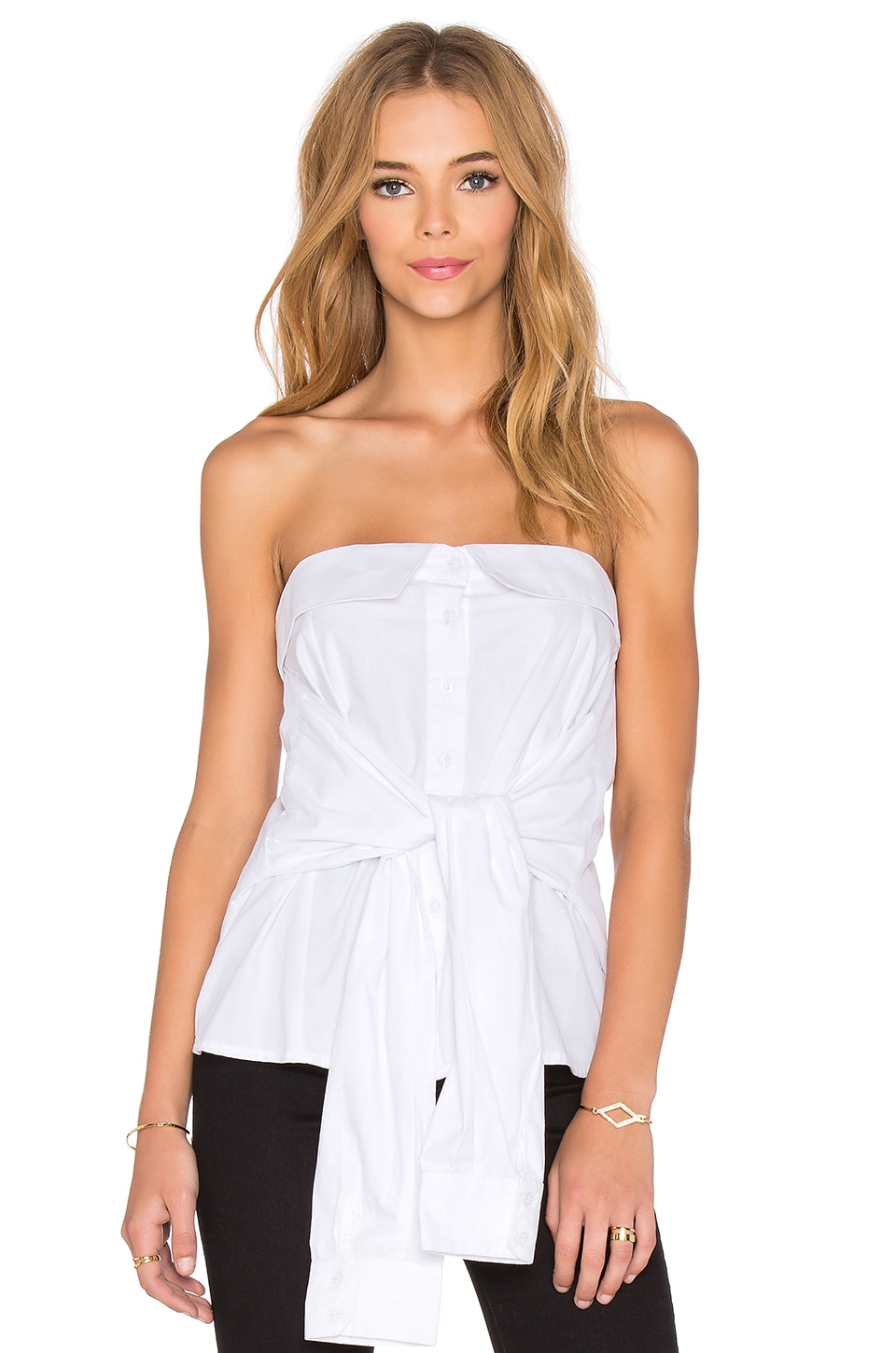 MLM Label Bustier Strapless Top in White