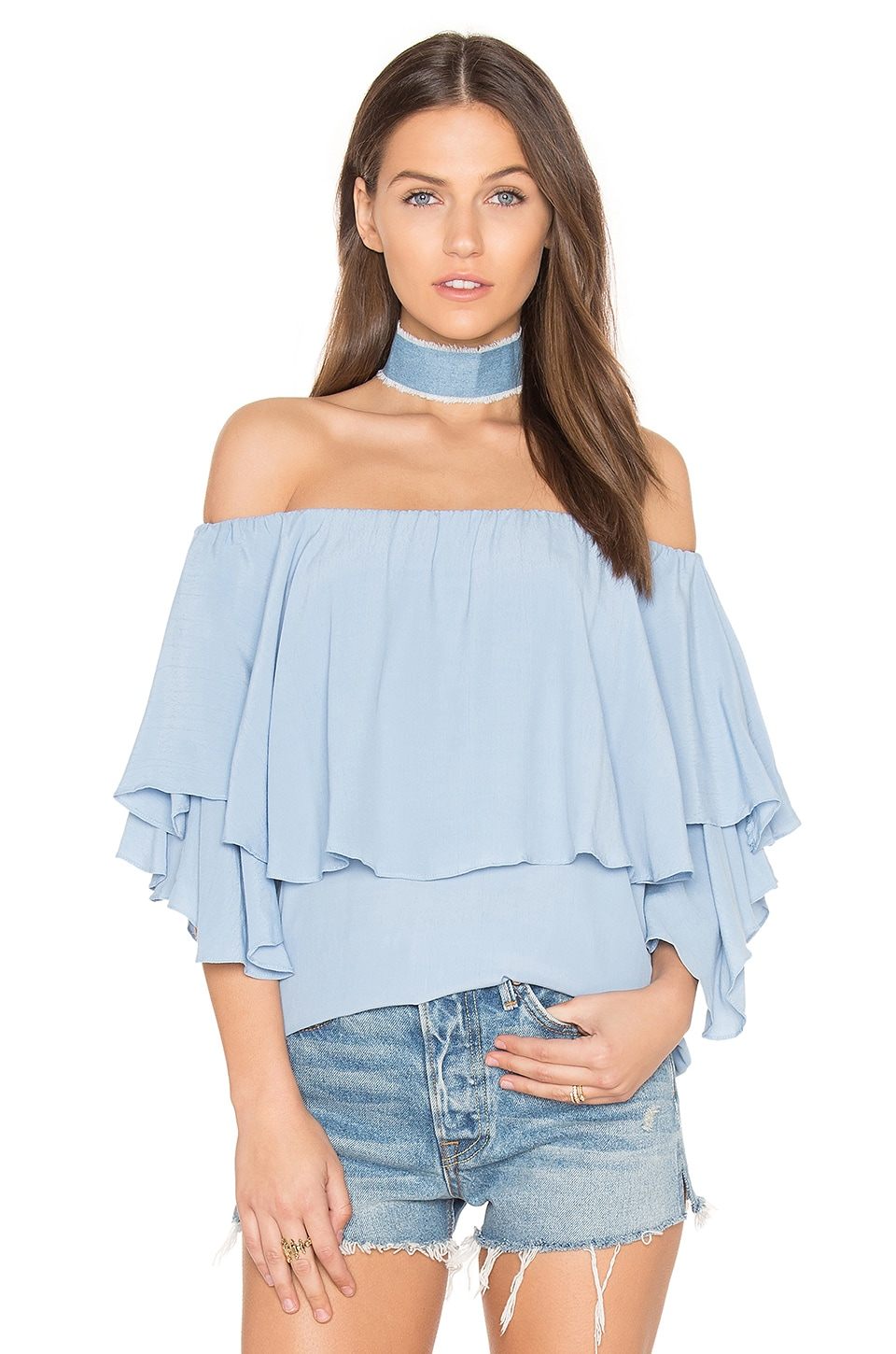 MLM Label Maison Shoulder Top in Arctic Ice Blue