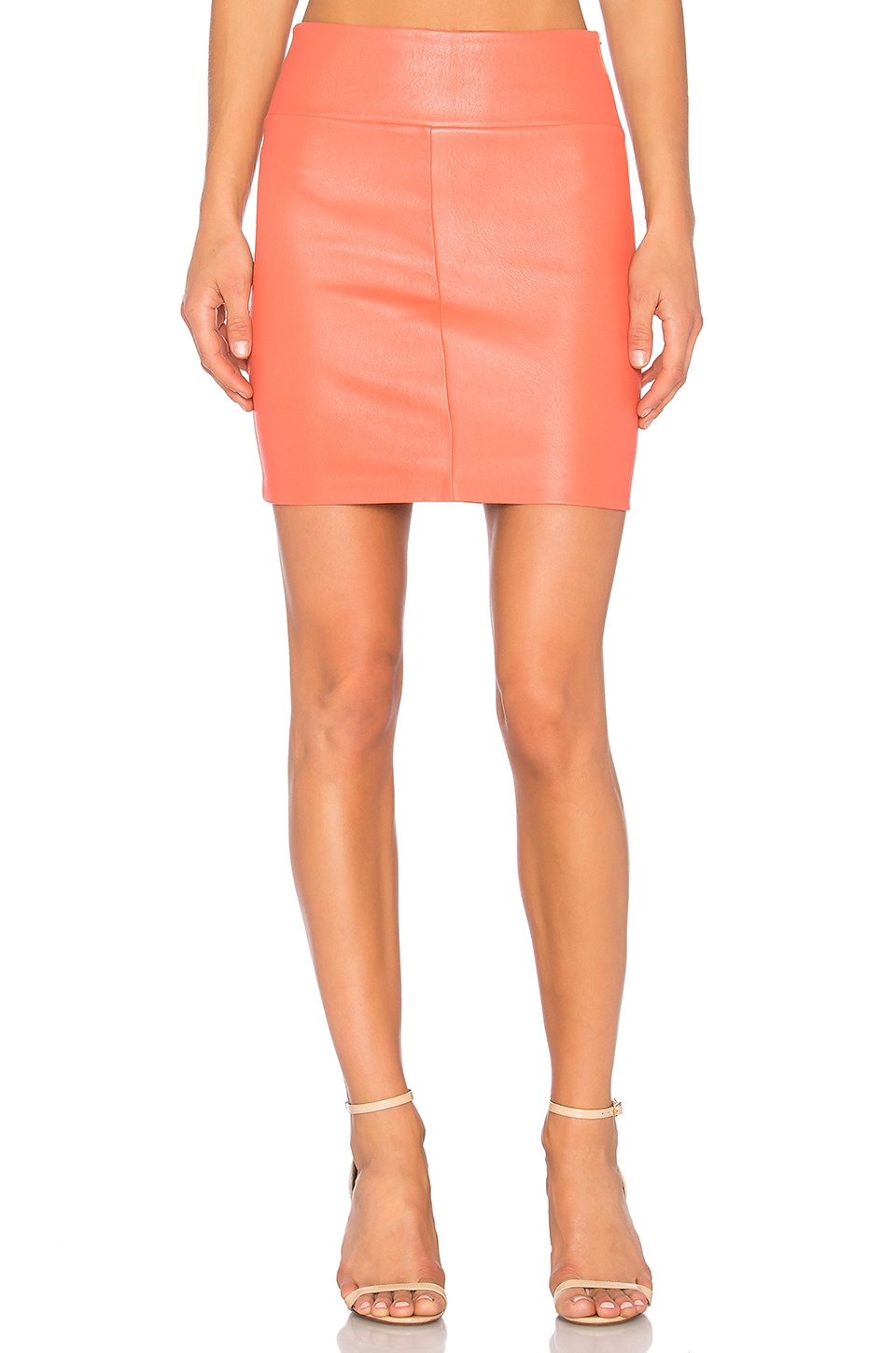 MLML Contrast Side Zip Skirt in Coral