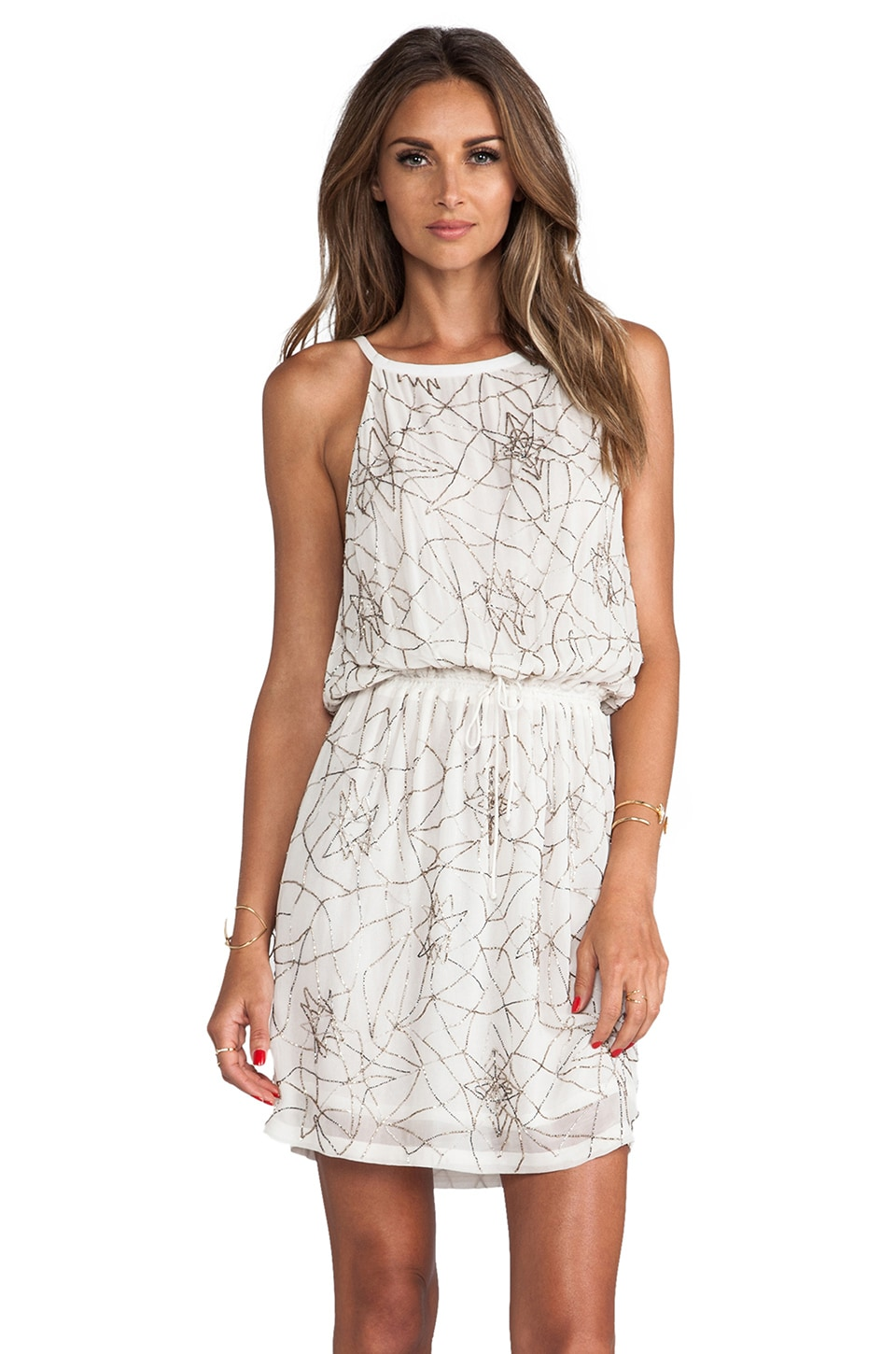 MLV Paris Hand Beaded Halter Dress in Ivory