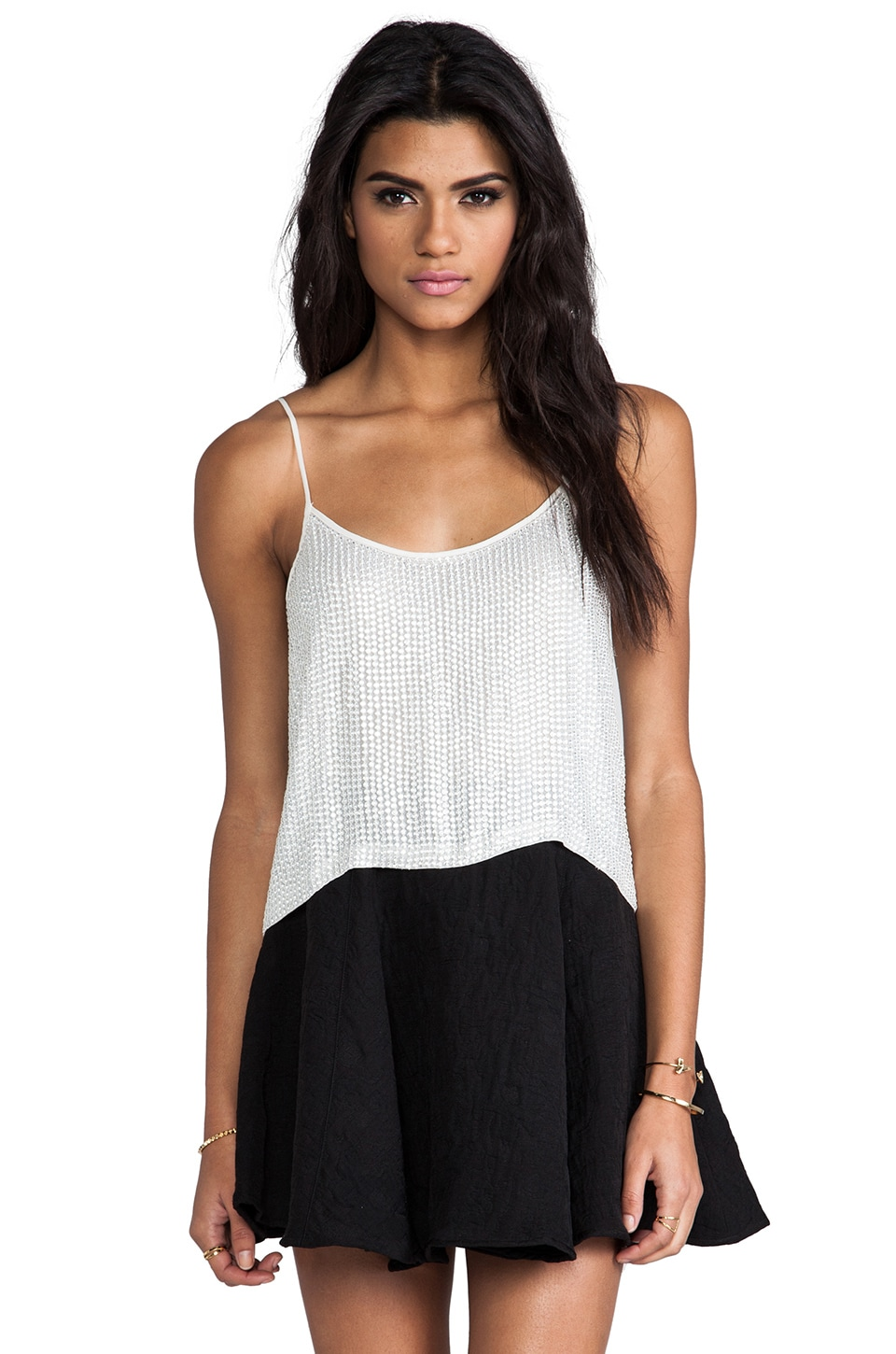 MLV Whitney Beaded Top in White