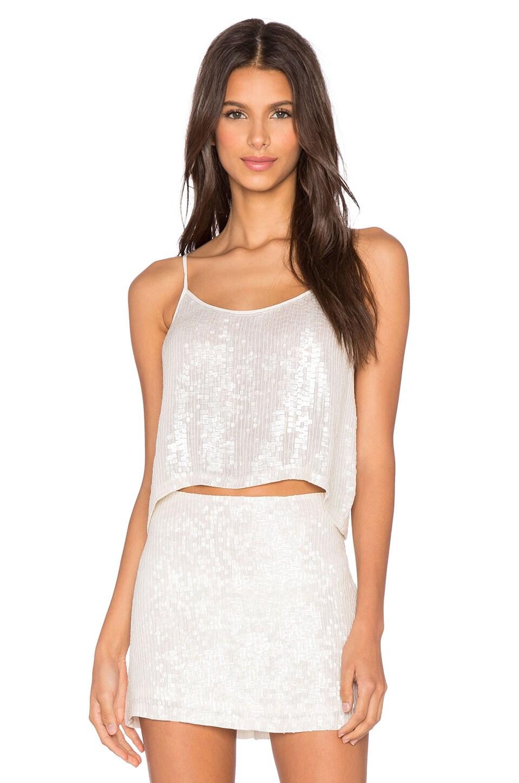 MLV Britney Sequin Crop Top in White