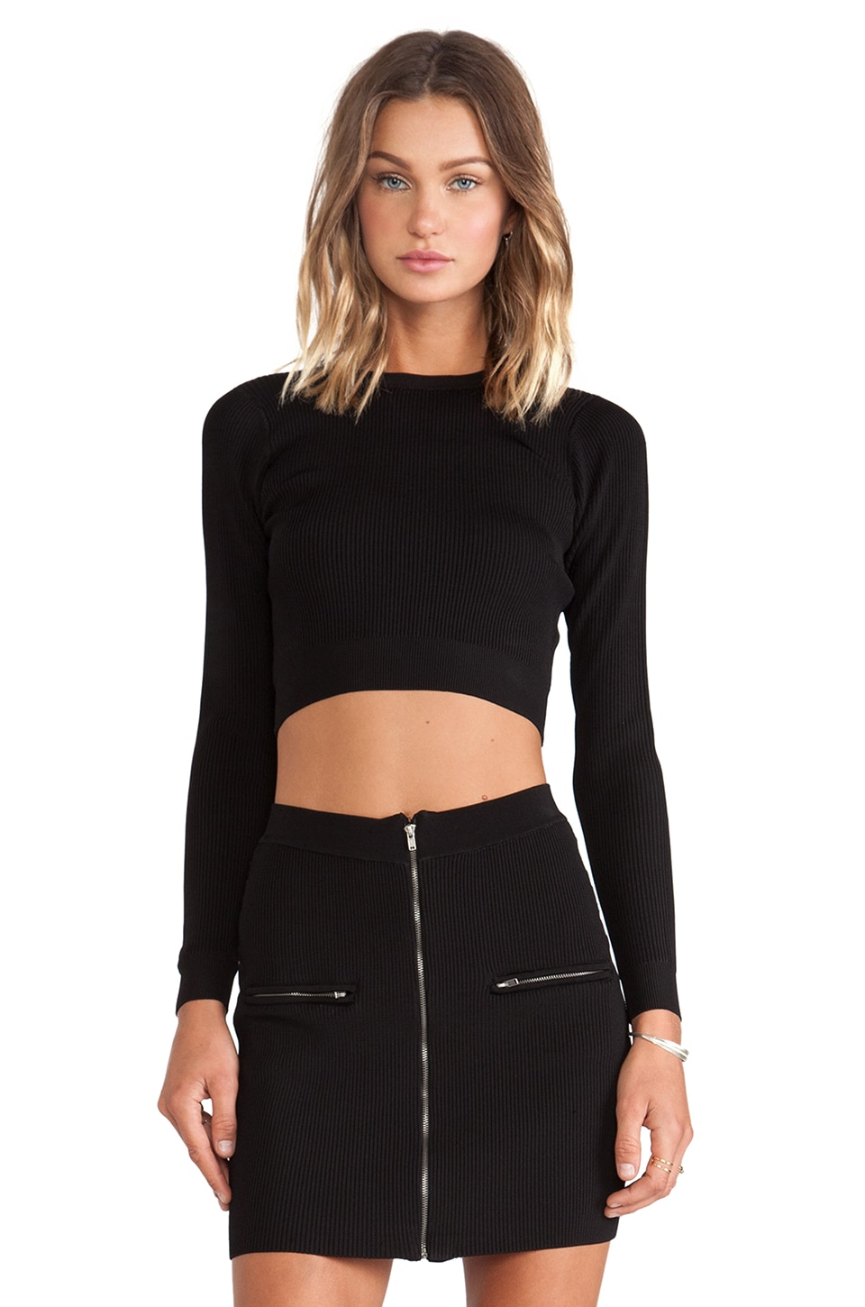 MLV Marbella Rib Crop Top in Black