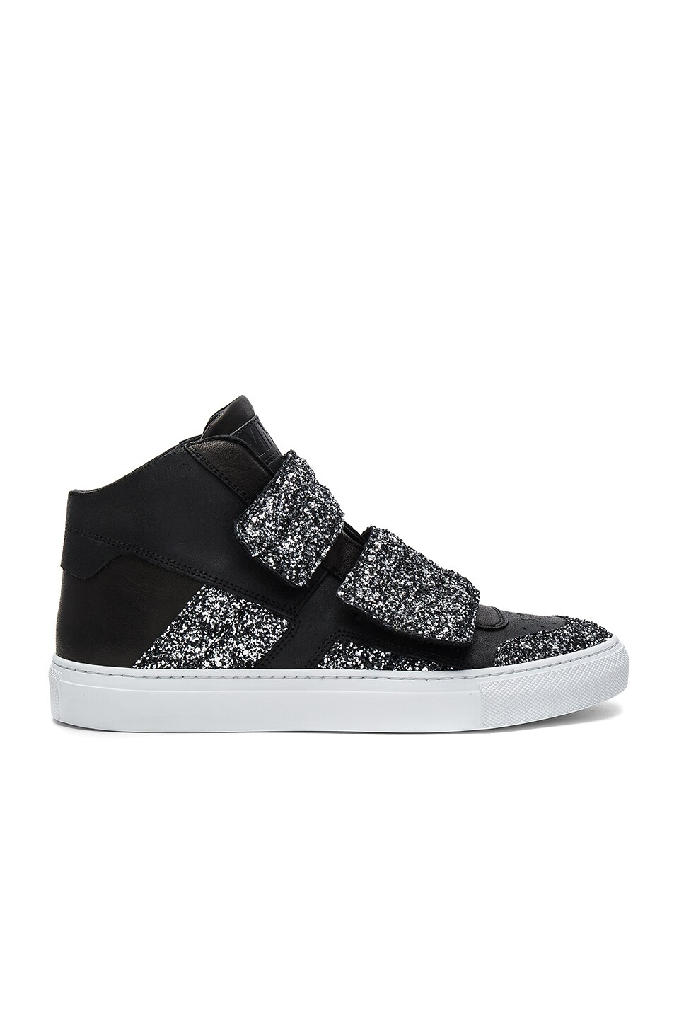 MM6 Maison Margiela Hi Top Sneaker in Black & Silver