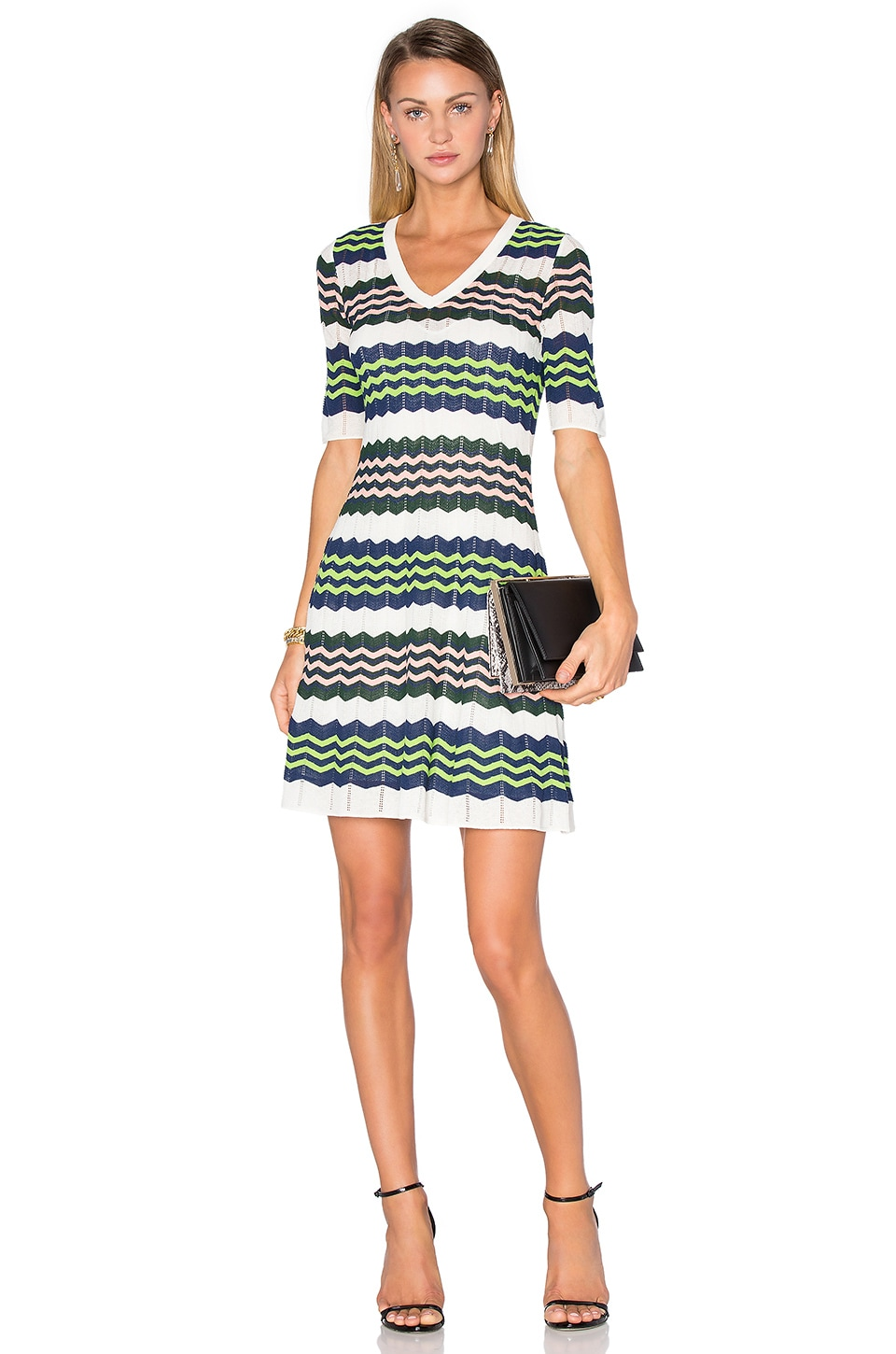 3/4 Sleeve Zig Zag Dress by M Missoni
