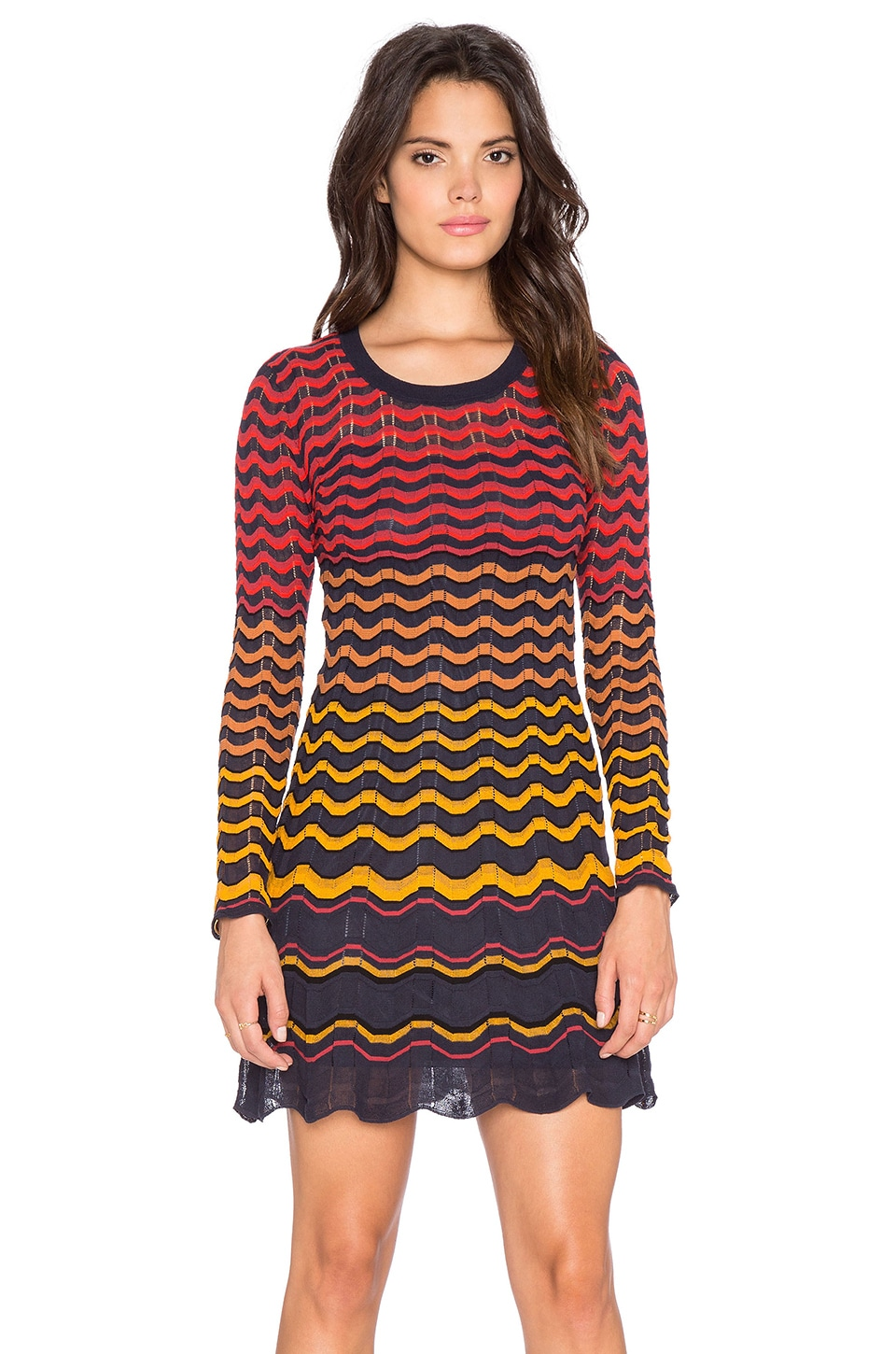 M Missoni Multi Zig Zag Long Sleeve Dress in Navy