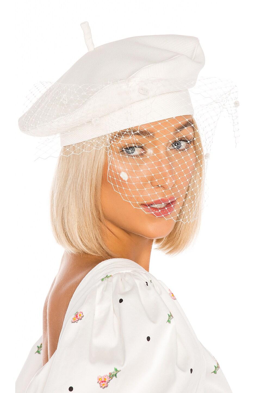 MARIANNA SENCHINA Veil Beret Hat in Milky