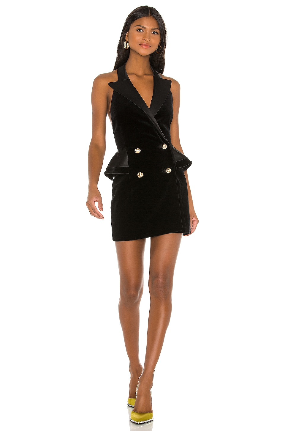 MARIANNA SENCHINA Open Back Jacket Dress in Black