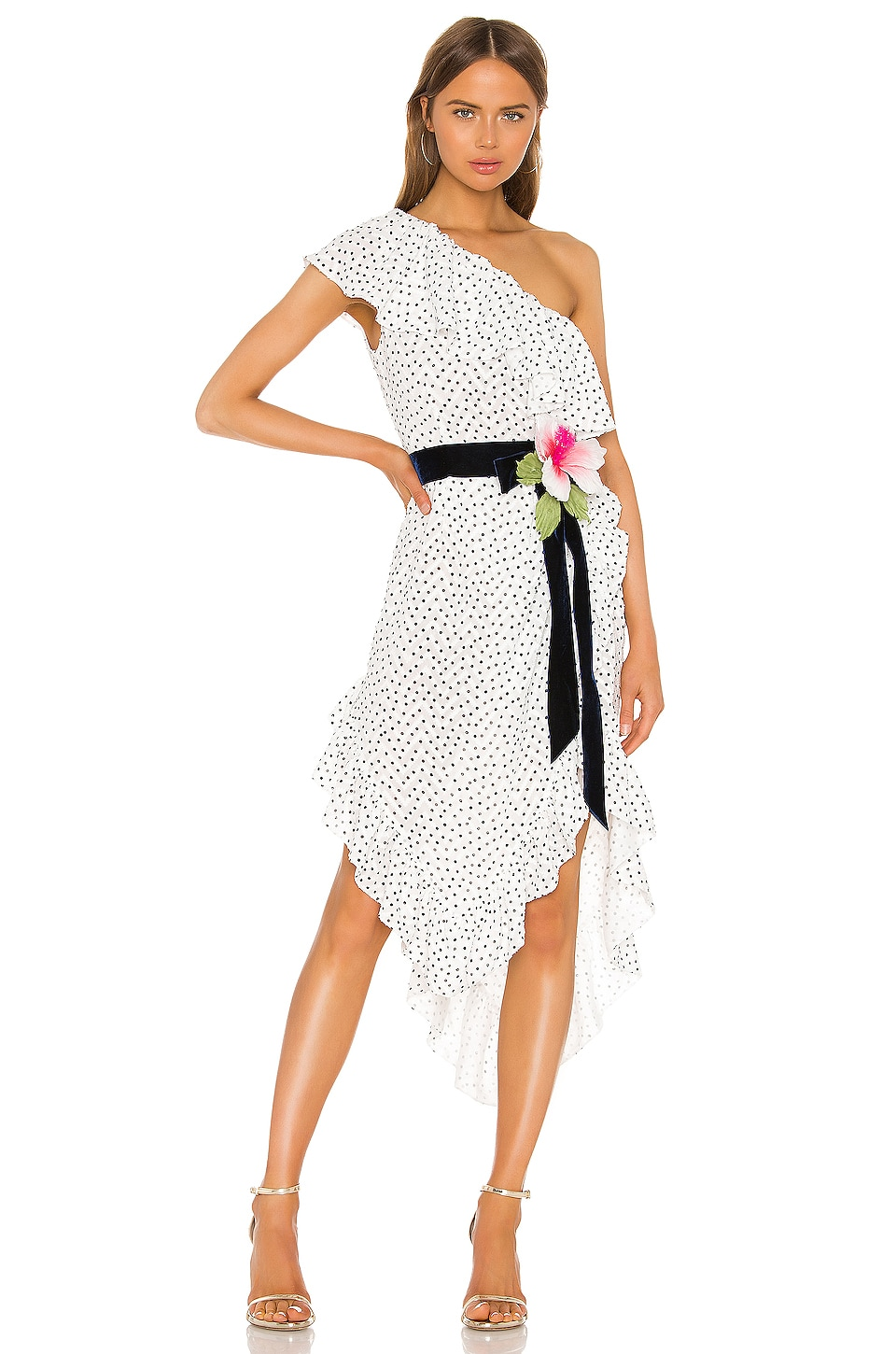 MARIANNA SENCHINA One Shoulder Dress in White With Black Polka Dot