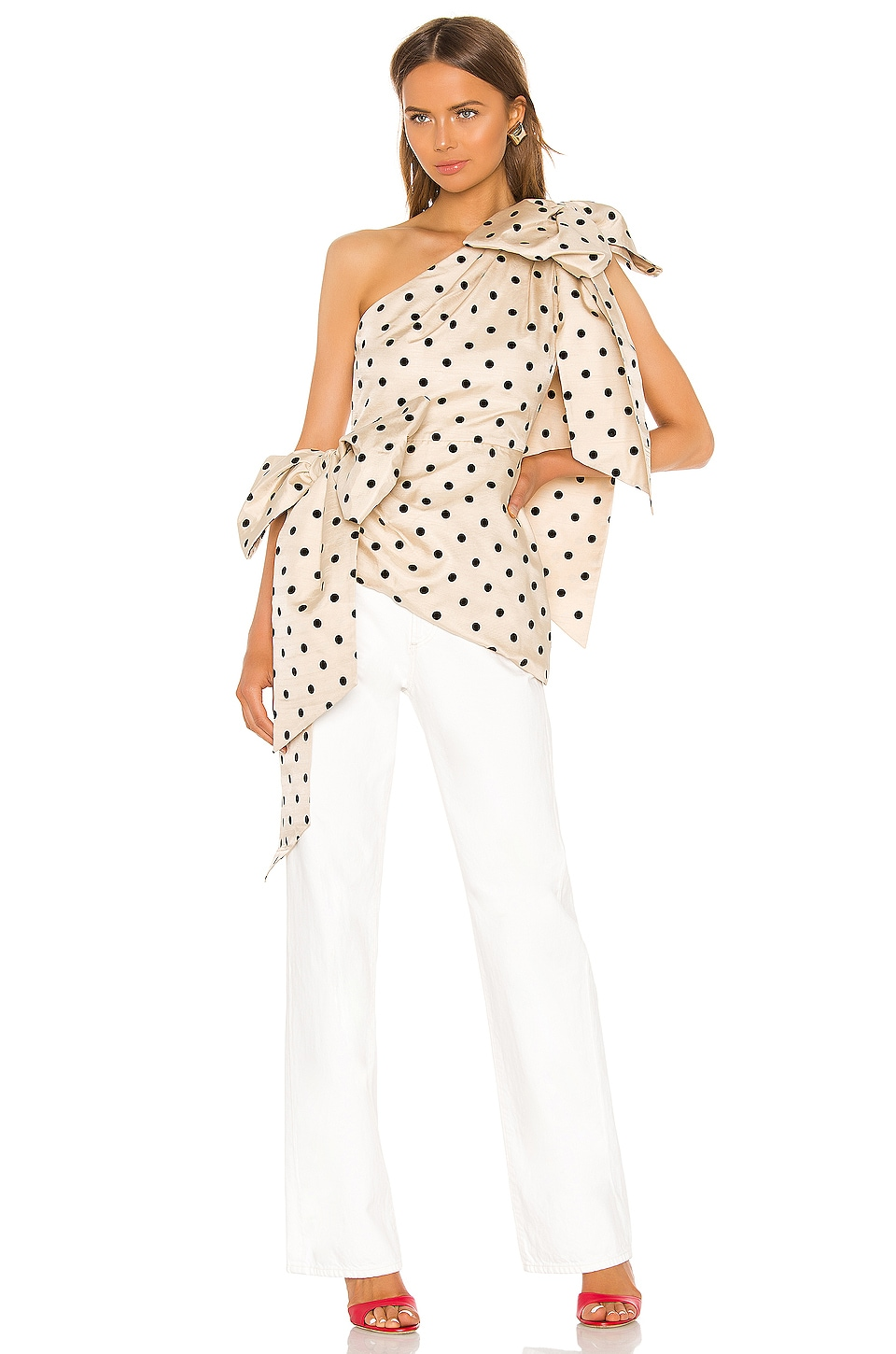 MARIANNA SENCHINA One Shoulder Bow Blouse in Nude With Black Polka Dot