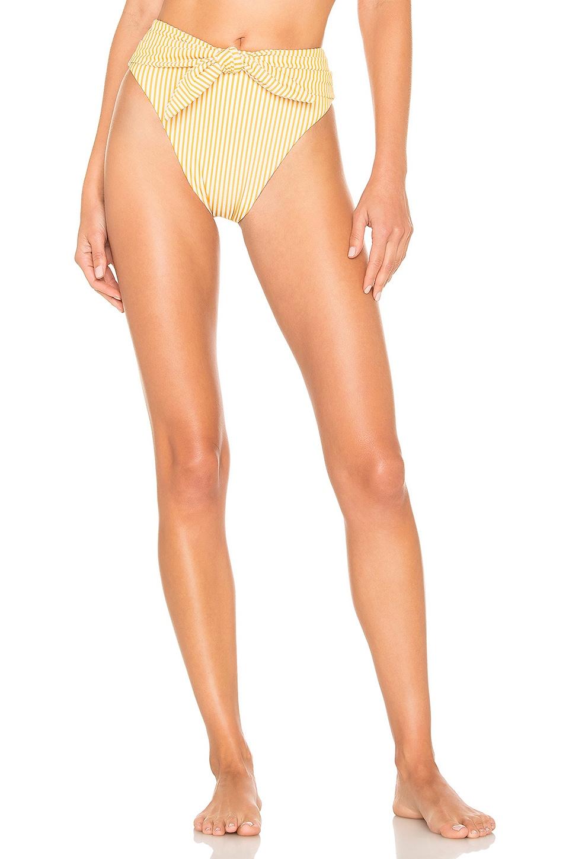 Montce Swim Paula Tie Up Bottom in Canary Stripe