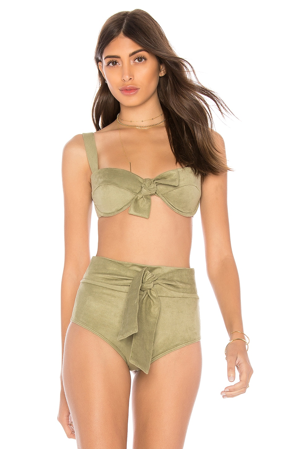 MONTCE SWIM Bustier Bow Top in Olive