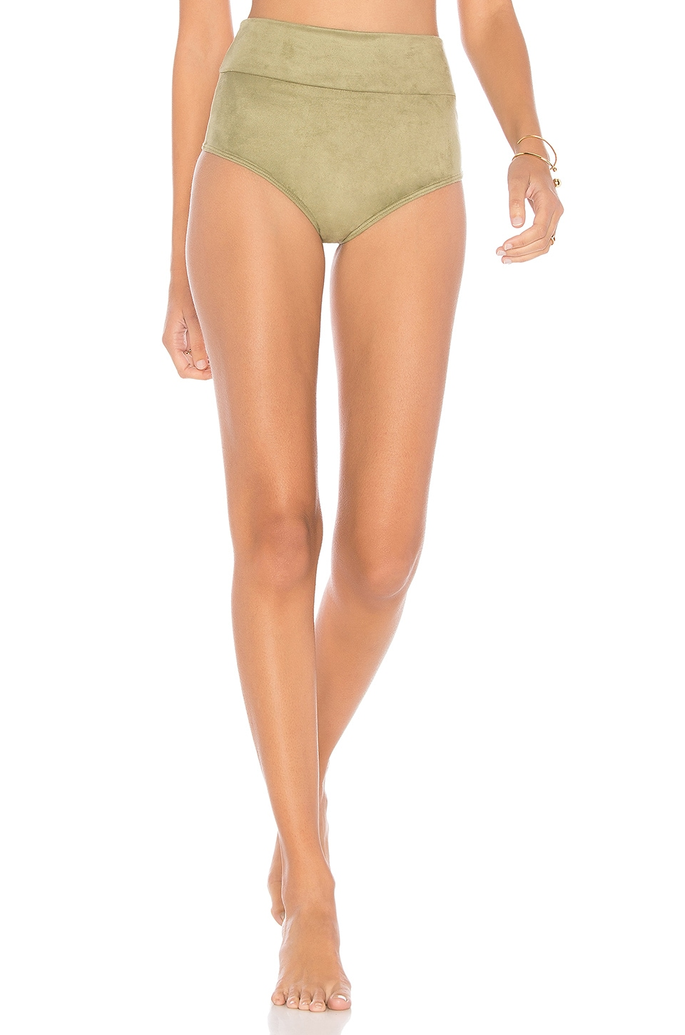 MONTCE SWIM Belted High Rise Bottom in Olive