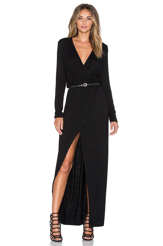 Minty Meets Munt Wrap Jersey Dress in Black