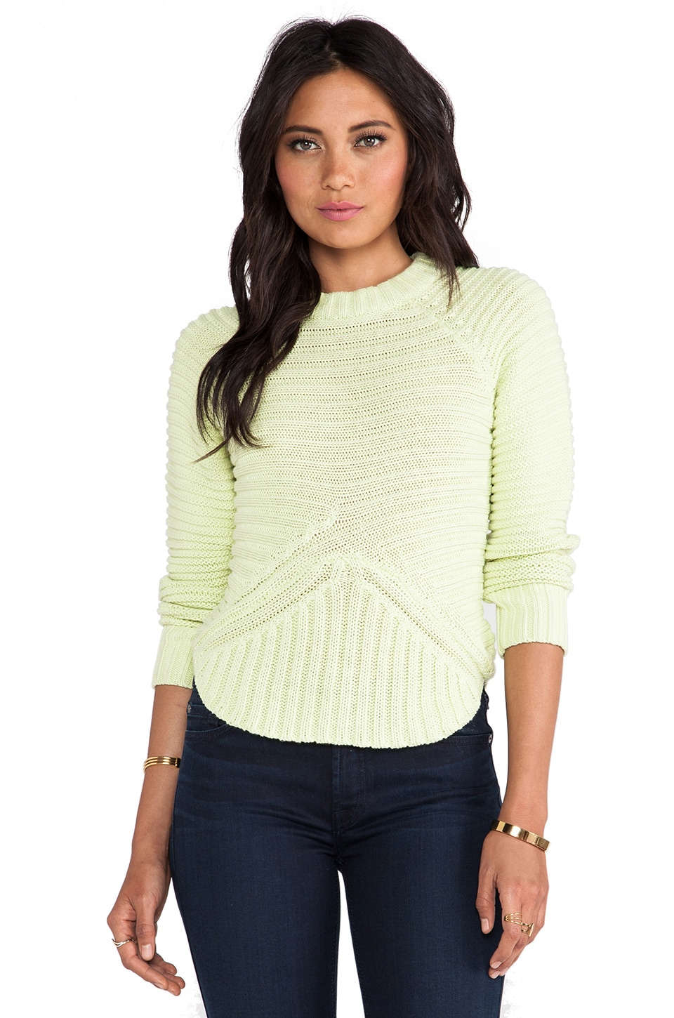 Minty Meets Munt Rib Knit Sweater in Limelight