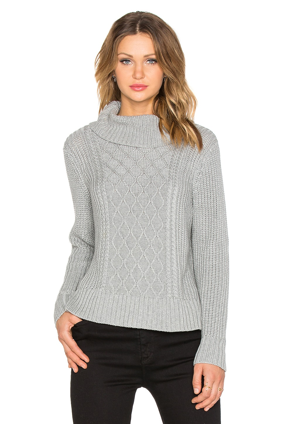 Minty Meets Munt Honeycomb Knit Sweater in Grey Melange