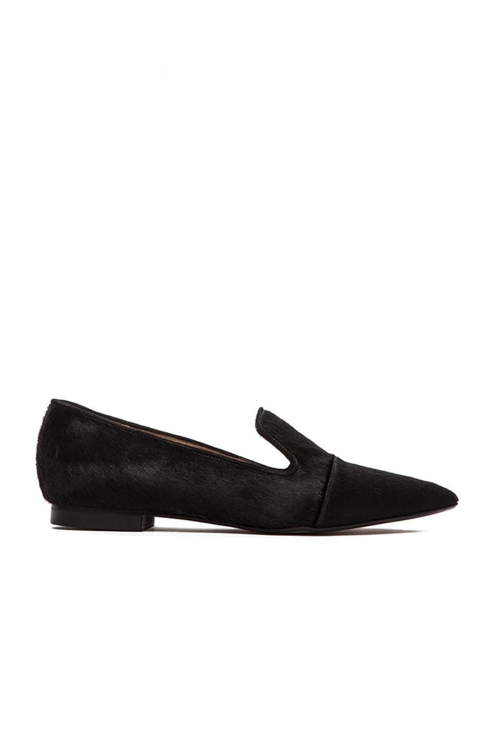 The Mode Collective Point Loafer with Fur in Black