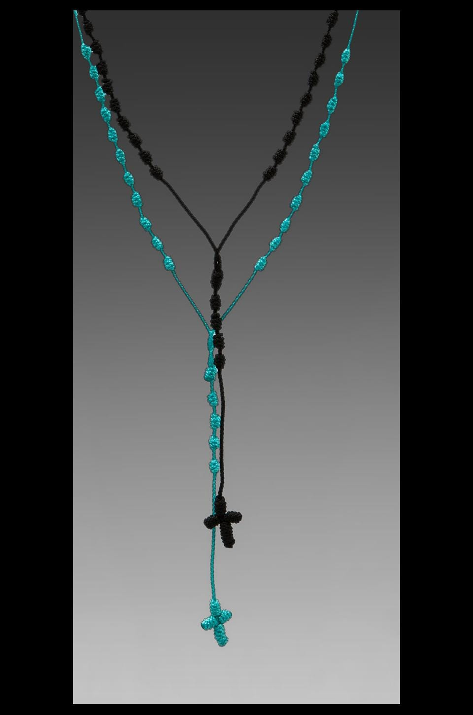 MONO & ME 2 Chainz Cross Necklace in Black/Turquoise