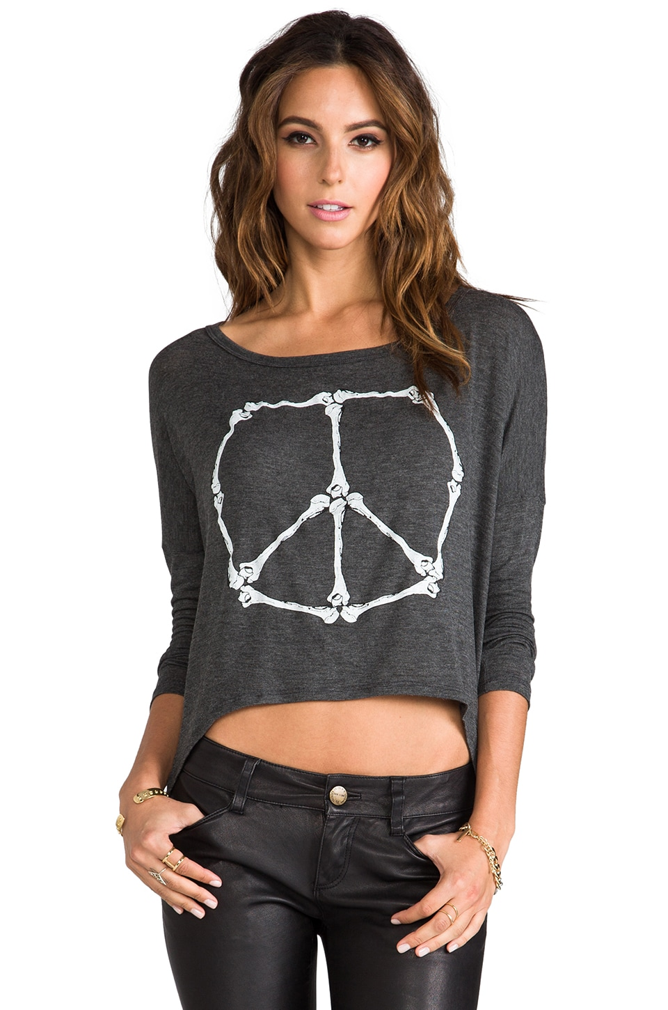 Morning Warrior Peace Bones Long Sleeve Tee in Charcoal Heather