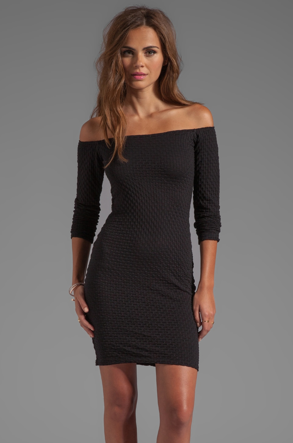 Motel Deborah Dress in Black Waffle
