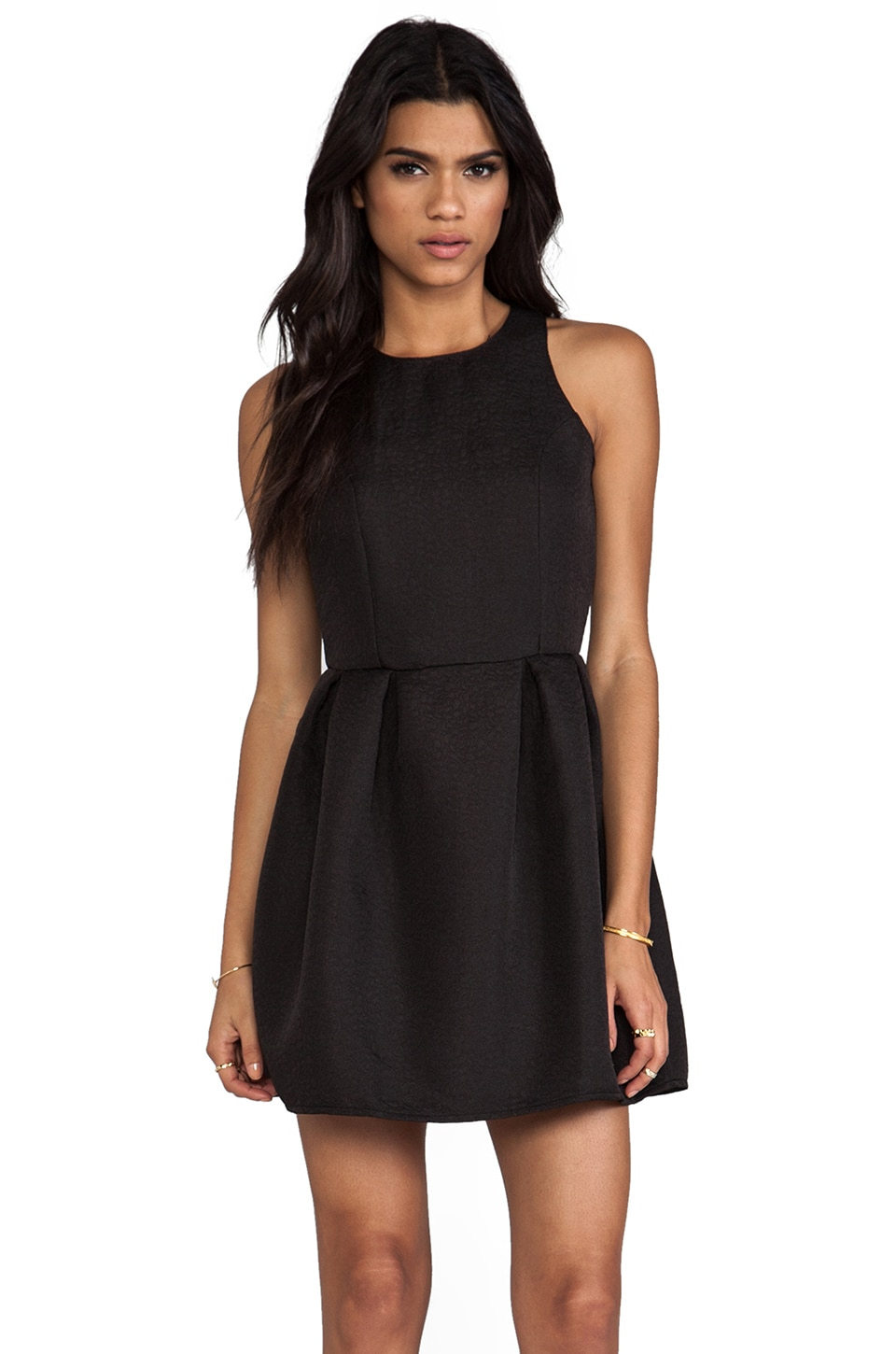 Motel Embossed Girlie Dress in Black