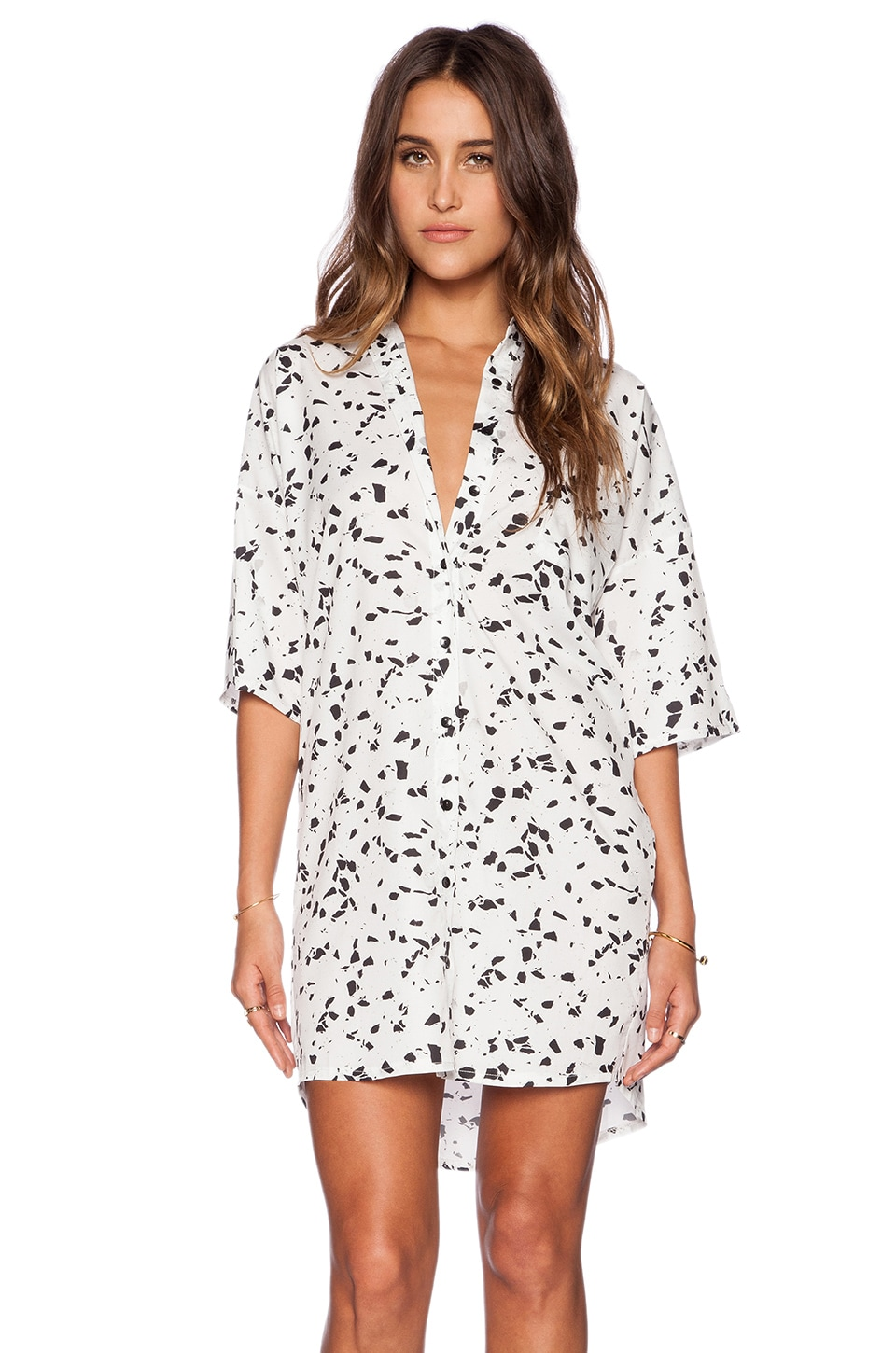 Motel Stella Shirt Dress in Monochromatic Marks
