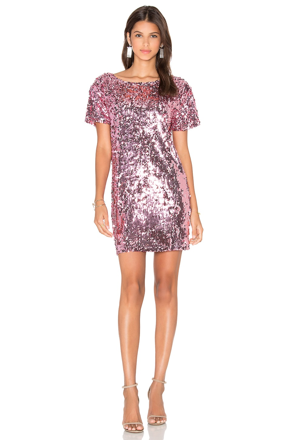 Motel Mausi Dress in Metallic Rose Sequin