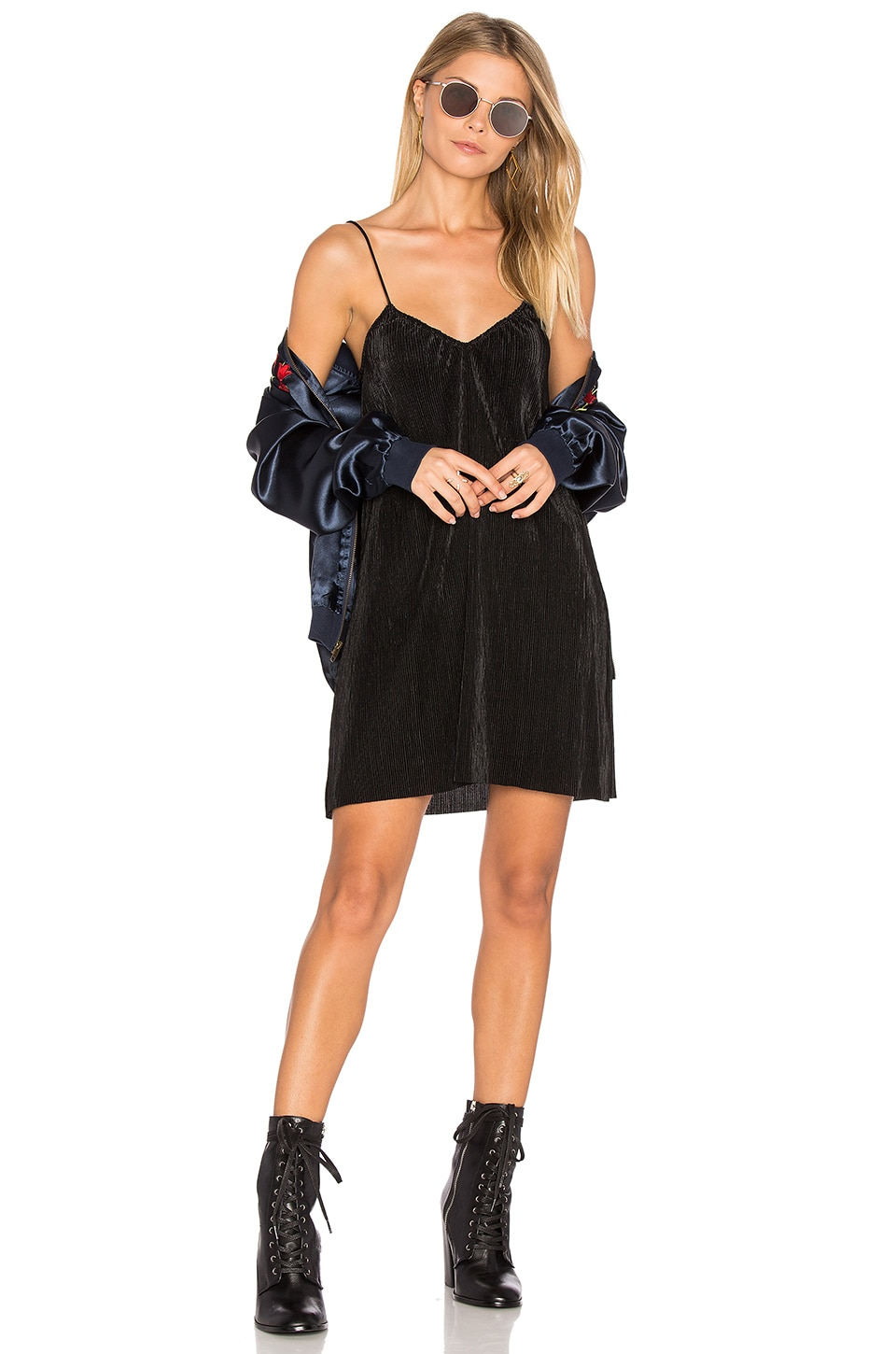 Motel Slip Dress in Black Pleat