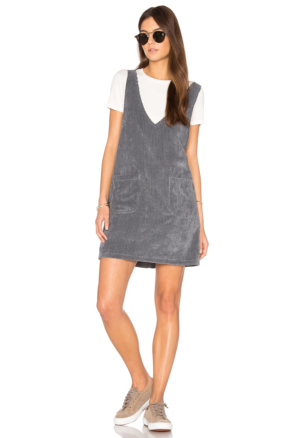 Motel Bridget Pinafore Dress in Grey Mega Cord