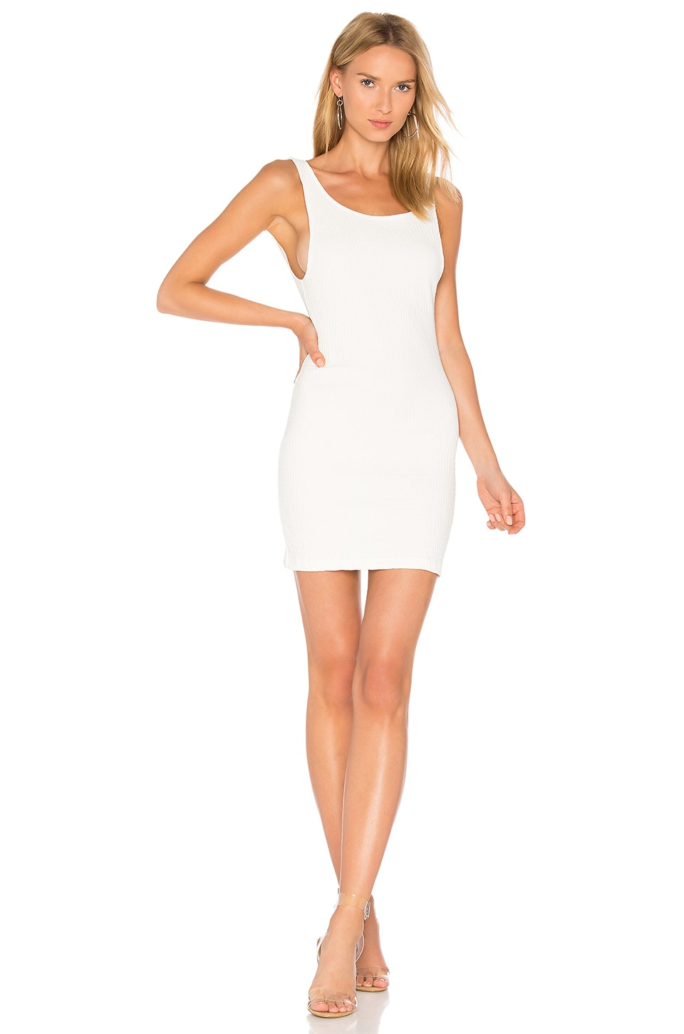 Motel Mergy Dress in White Bubble Stretch