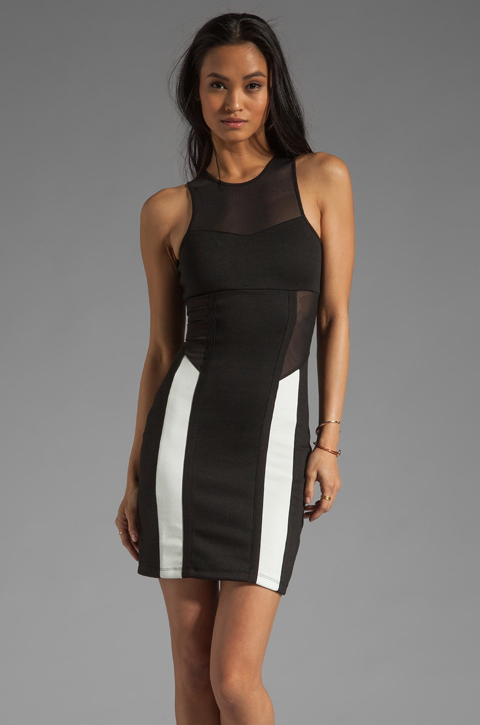 Motel Ayla Dress in Black/Ivory