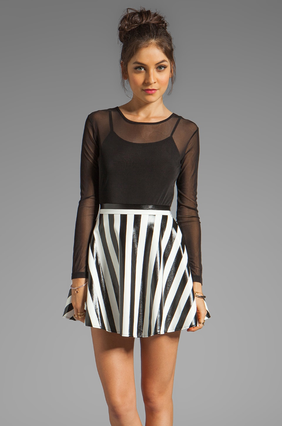 Motel Cherry Pie Dress in Black/White Stripe