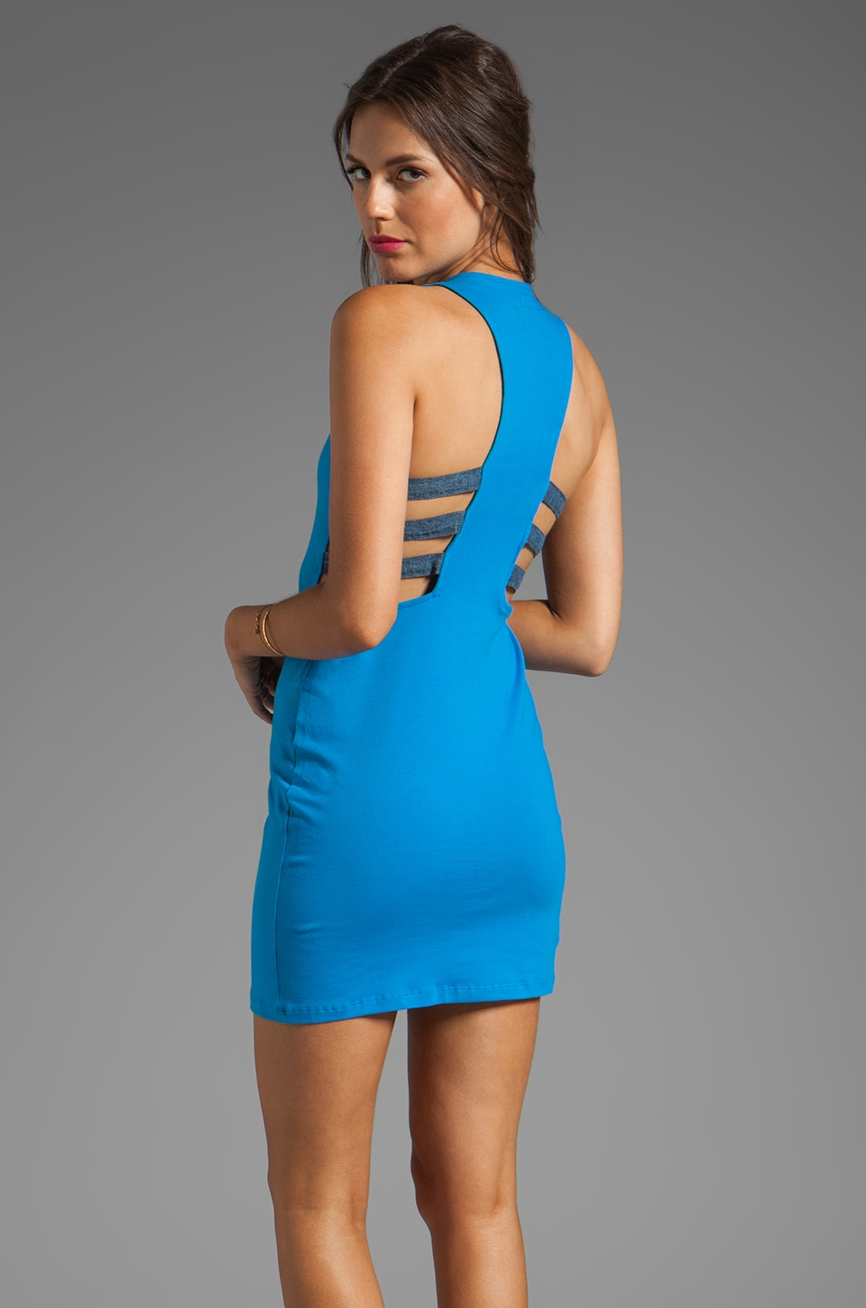 Motel Hailey Dress in Blue/Shirling