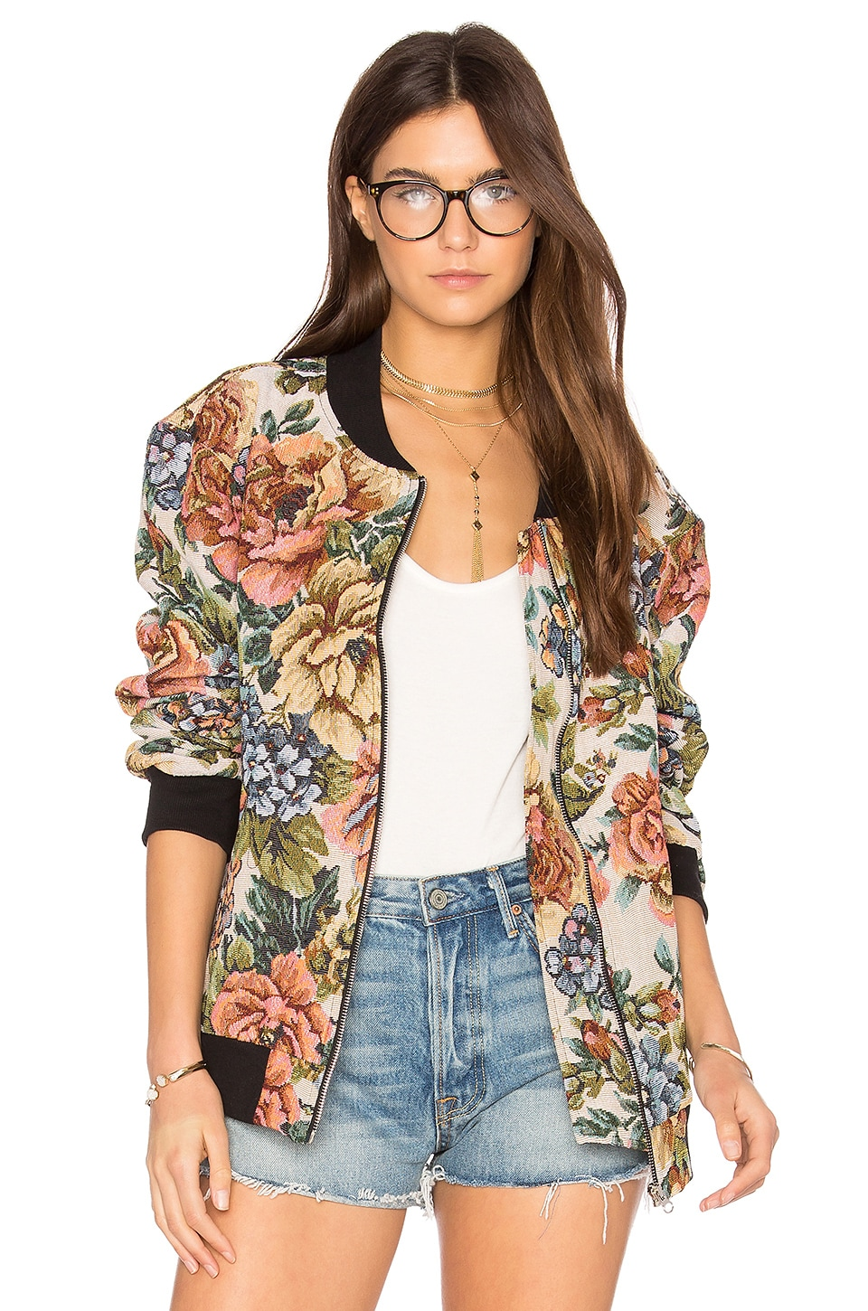 Motel Bomber Jacket in Iced Rose Tapestry