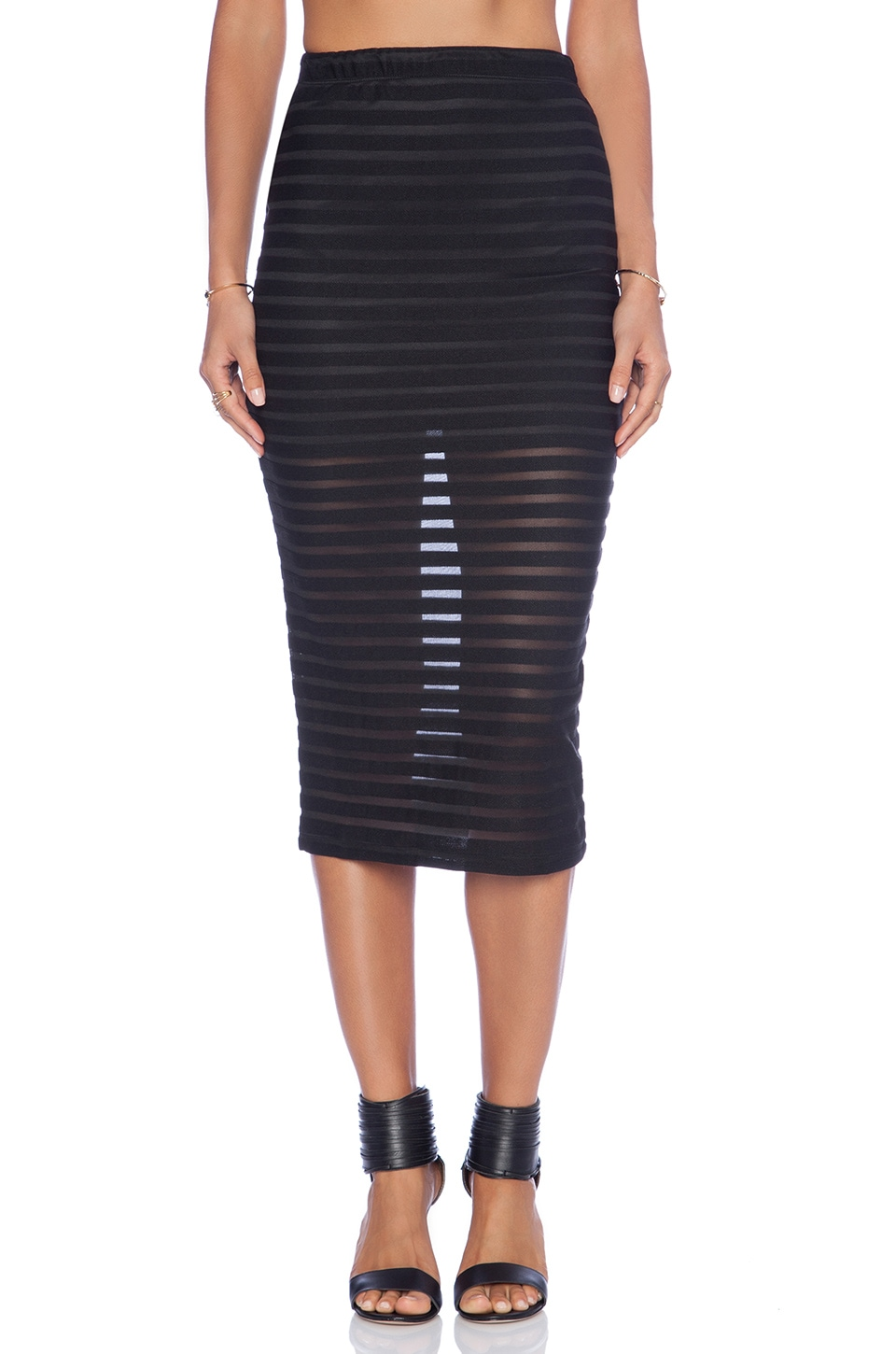 Motel Bobby Skirt in Black & Stripe Net