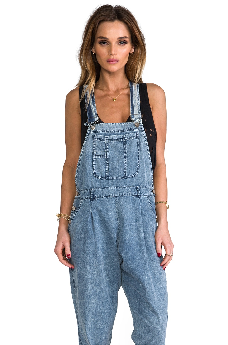 Motel Edie Denim Jumpsuit in Blue
